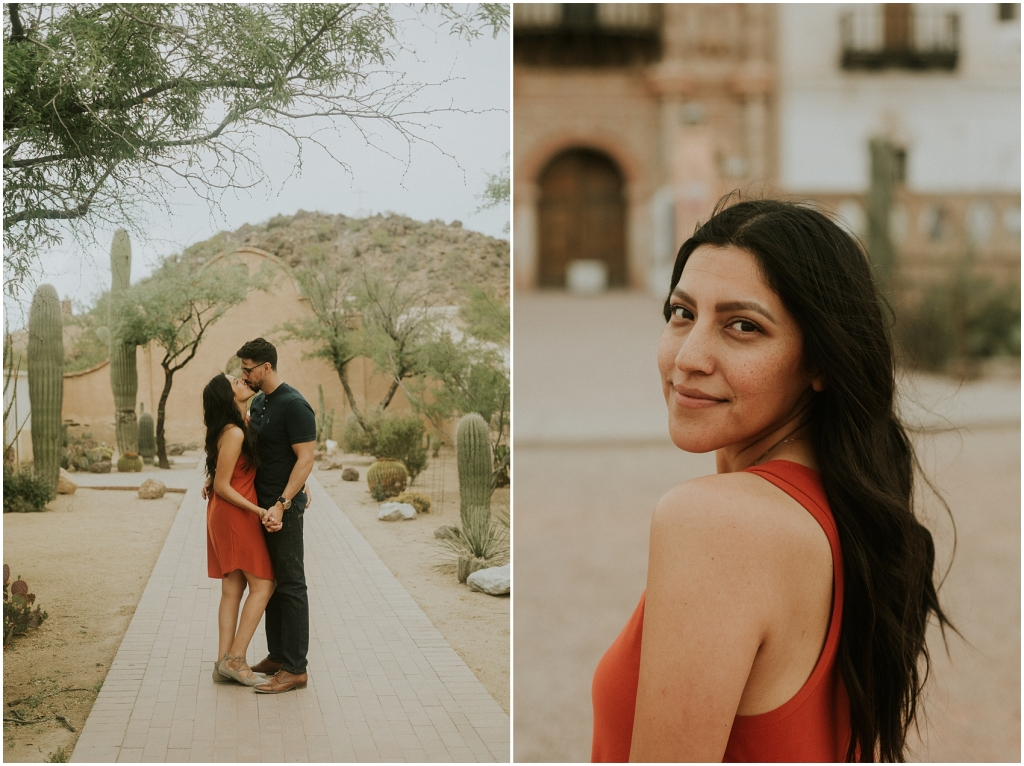 Engagement Session at San Xavier Mission photographed by Arizona Destination Wedding and Elopement Photographer Sue Ellen Aguirre