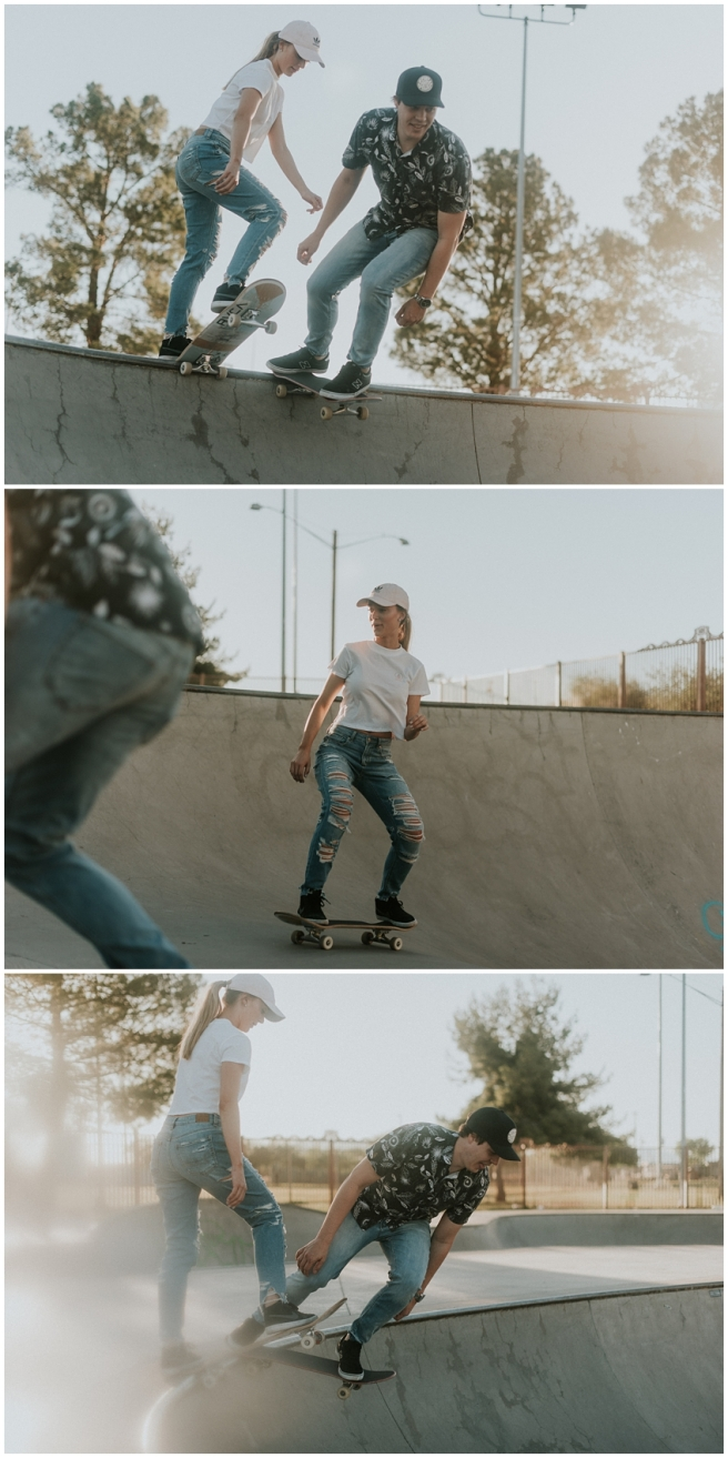 Downtown Skate Park Engagement Session photographed by Arizona Destination Wedding and Elopement Photographer Sue Ellen Aguirre